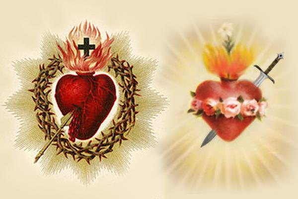 srce isusovo i srce marijino kopljem i macem probodeno